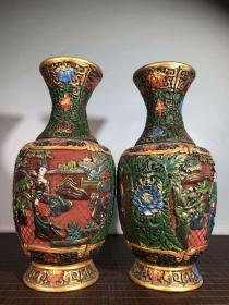 漆器手工画彩美女图花瓶一对高30厘米礼物中国风复古送老外礼品