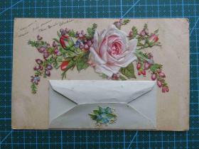 {会山书院}3#欧洲法国1910年(玫瑰花)手写明信片-个性专题、手账制作、复古收藏集邮