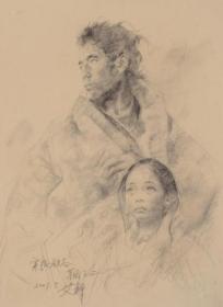 715  艾轩   穿越狼谷素描之二     纸本印刷图片