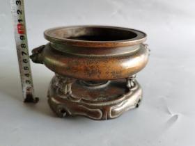 古董古玩铜器明代紫铜老香炉