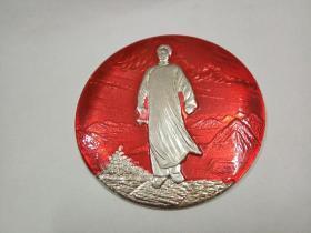 [红色文化珍藏]文革时期 精品像章 《毛主席去安源》直径八厘米大像章  珍罕精品,特色题材像章,收藏品质(直径8.0厘米)