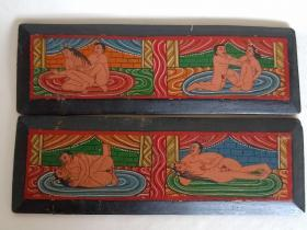 清代 藏经木夹板一副 泥金藏文 彩绘