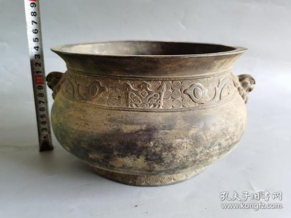 古董铜器兽耳铜香炉