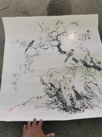 花鸟画作品一幅,画工精美,疑是名家没看出是作者是谁?