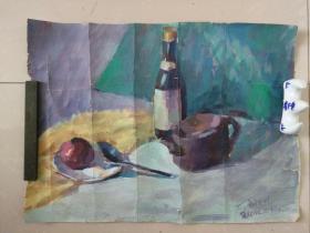 湖北美院刘生武水粉画静物一张,品见描述包快递。