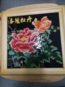洛阳牡丹三彩瓷板装饰画12  八十年代外贸出口库存