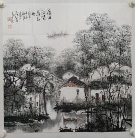 保真书画,当代山水画名家胥力浦四平尺斗方国画《依旧江南春色好》一幅,画的精美,值得鉴藏,馈赠,装饰。