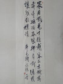 保真书画,著名画家范扬先生书法精品《自作诗抒怀》一幅,尺寸137×35cm