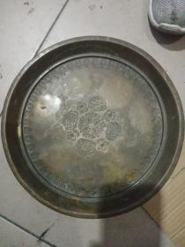 老铜盘子,年代清代民国,包真包老,售出不退。