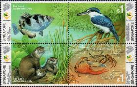 新加坡2000年邮票 湿地动物 水獭、鸟、蟹、鱼4全 新票
