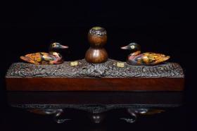 乡下收到的木底座镶嵌葫芦香插,古意盎然 包浆浑厚 品相如图