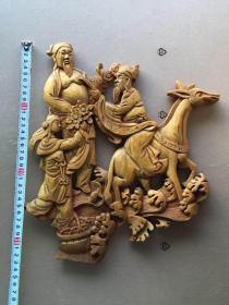 《特價》精美老木雕,八仙人物一片(漢鐘離藍采和張果老)
