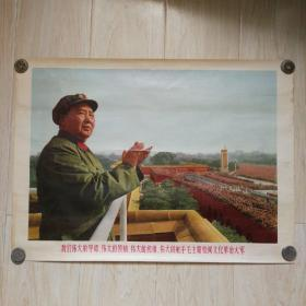 宣传画:我们伟大的导师、伟大的领袖、伟大的统帅、伟大的舵手毛主席检阅文革大军