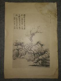 民国珂罗版:恽寿平~枯木竹石图