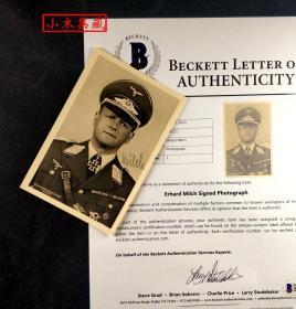 """""""纳粹德国的犹太元帅"""" 艾尔哈德·米尔希 元帅签名照片明信片 由三大签名鉴定公司之一Beckett(BAS)提供鉴定"""