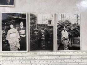 日本和服美女老照片3张合售