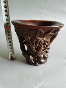 古董古玩雕刻花卉杯子摆件