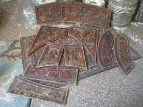 民国时期手工雕刻人物花纹老木雕花板一套九块,雕工精致人物题材丰富,品相非常好,难得
