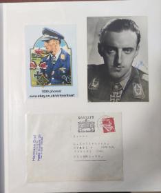 二战德国第9号王牌飞行员钻石骑士赫尔曼格拉夫上校亲笔签名照双签名,加原始回信信封