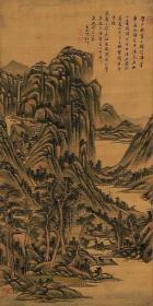 高清复制名家字画  清 王原祁 高岭平川图 52.8x104.2
