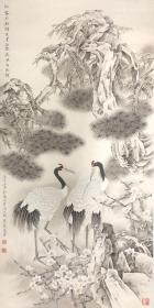 处理,莫建成 四尺工笔仙鹤一副,画功一流,纯手绘。收藏送礼具佳