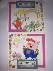儿童连环画封面原画稿2张  幼儿右脑智力开发画库  学常识