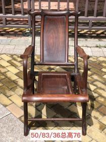 民國時期,紅木躺椅,做工精致細膩光滑,紋理清晰,尺寸長50cm,寬83cm,總高76cm