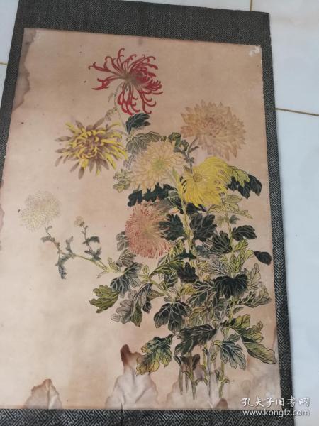 民國老裱工菊花圖(印刷品宣傳畫)尺寸55公分*39公分