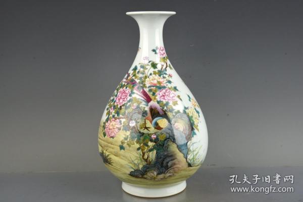 清雍正珐琅彩锦鸡牡丹纹玉壶春瓶