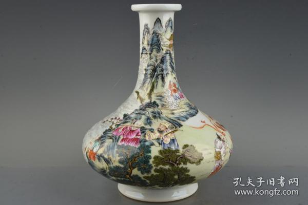 清雍正珐琅彩描金八仙人物纹炫纹盘口瓶