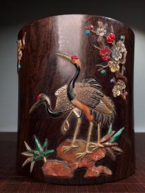 小叶檀木手工镶嵌多宝笔筒摆件  做工精细 古雅盎然 包浆浑厚 保存完整 品相如图