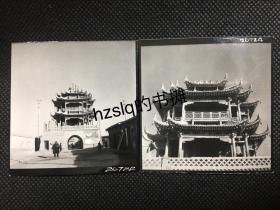 【系列照片】早期宁夏平罗钟鼓楼远景+近景专业摄影2张合售,可见墙面上的宣传画,透过门洞可见另一古建筑,附今图。老照片影像清晰、颇为少见难得