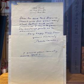 """不朽的西班牙大提琴家 """"大提琴之父"""" 、1963年由肯尼迪批准颁发总统自由勋章 卡萨尔斯 Pablo Casals (1876-1973)1967年亲笔信一份 专用信纸 附实寄封 由波多黎各寄至美国亚利桑那州友人夫妇 表达新年祝福 并提到""""我自从1900年,就熟悉你们这个美丽的国家"""" 附鉴定证书"""