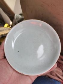 清中期 龙泉青瓷 豆青盘。13厘米
