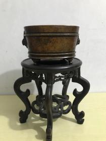 清代传世宣德年制款天鸡耳四足瓦岗式铜香炉,包浆熟美,内膛干净,尺寸见图,重1351克。