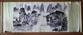 手绘真迹国画:无款《桂山水甲天下》(粘在1972年天津人美出版的《向阳渠》立轴上)