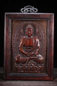 收藏实木镶紫铜嵌宝石唐卡释迦如来佛一尊摆件高37厘米宽24厘米