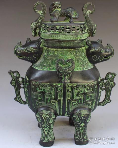 铜器 双牛熏炉摆件