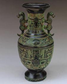 铜 双耳花瓶摆件