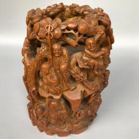 旧藏竹根手工透空雕刻十八罗汉竹雕笔筒摆件
