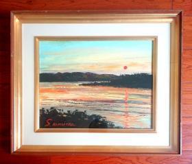 日本油画 日本昭和时期画家S.KAMIOKA作品,渔港夕照,精品旧油画,日本原框,可直接上墙,收藏装饰礼品俱佳