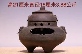 清,铸铁煮茶炉一套,做工精湛,造型别致,包浆浑厚,品相完好,尺寸如图