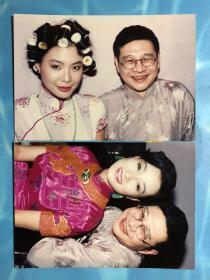 """著名小说家 倪匡 与著名演员一代""""鬼后"""" 王小凤 合影老照片2枚"""