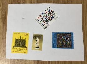 法国邮票 La Poste 1995 6.70  La Châsse  Saint-Taurin Évreux République Française Maurice Chevalier La Poste 2.30_0.50 Légende De Saint Étienne), XIIe siècle, Cathédrale du Mans  Baselitz allemagne