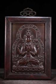 收藏实木镶紫铜嵌宝石唐卡家居客厅装饰摆件 高37厘米宽24厘米