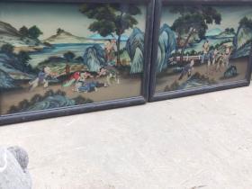 清代  楠木纯手绘 五彩玻璃画 五子嬉戏图 一对 全品完整包老 尺寸84/60