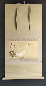 D1089:回流手绘今尾景年白鹅图立轴(日本回流.回流老画.老字画)