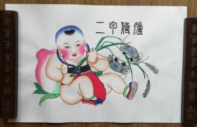 手工填色杨柳青年画:《二甲传胪》