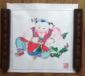 手工填色杨柳青年画:《长命百岁》