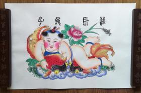 手工填色杨柳青年画:《子鱼卧莲》